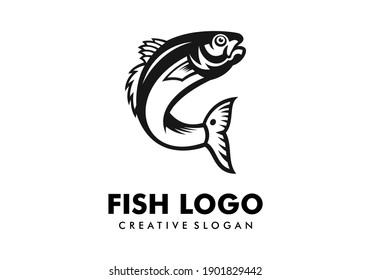 Awesome Fish Silhouette Logo Design Template