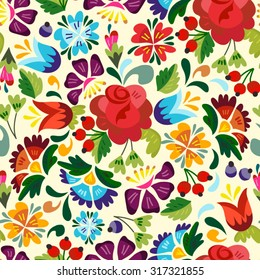 Awesome floral pattern in Russian style.