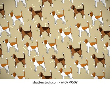 Awesome greeting card with cute cartoon dog. Breed beagle. Can be used for wallpaper, pattern fills, greeting cards, webpage backgrounds, wrapping paper and textile or fabric. Vector illustration.