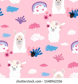 Awesome  hand drawn seamless pattern with  cute lama in cartoon style. Perfect for cards,  wallpaper, textile,  fabric, kindergarten, baby shower, children room decoration. Vector illustration.