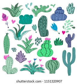 Awesome handdrawn  big set of cactuses  in cartoon style. Unique doodle  collection. Isolated. Vector illustration.