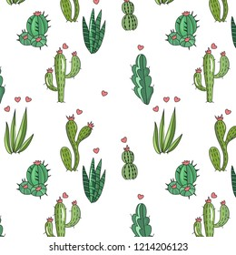 Awesome handdrawn big set of cactuses in cartoon style. Unique doodle collection. Vector illustration.