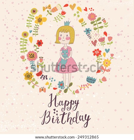 Awesome Happy Birthday Card In Cartoon Style Cute Small Princess With Her Lovely Cat