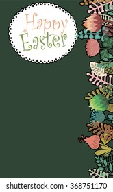Awesome happy easter card in vector. spring flowers. Stylish holiday background in popular style
