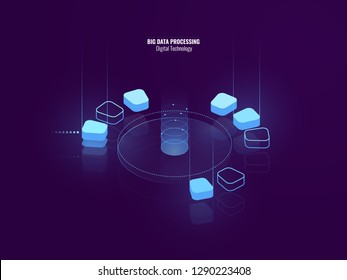 Awesome isometric banner of digital technology, isometric abstract icon of big data processing, conceptual cloud storage, data warehouse of future, blockchain, lighting neon, vector illustration