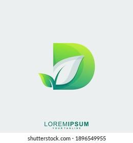 Awesome Letter D Leaf Premium Logo
