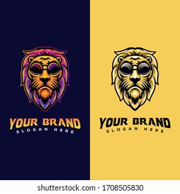 awesome Lion with eye glasses animal logo for your brand logo template