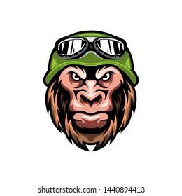 Awesome monkey with hat illustration design