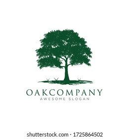 Awesome Oak Tree With Ground And Grass Element Logo Design