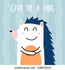 Awesome Retro Cute Hedgehog Design for t-shirt, mug, bag lunchbox, wallpaper, wrapper, poster and banner flat design for kids. vector illustration
