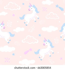 Awesome seamless pattern with cute unicorns, clouds, stars. Magic background with white unicorns jumping in the sky. Adorable wallpaper in the childish style. Vector
