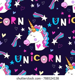 Awesome seamless pattern with unicorn and star.Beautiful Magic unicorn in cartoon style.Kids illustration for design prints, cards and birthday invitations. Vector illustration.