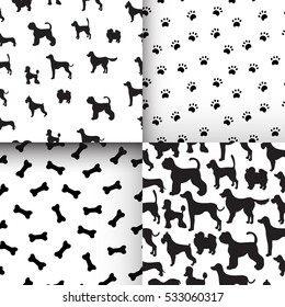 Awesome set of seamless pattern with dog silhouettes, cartoon bones and paws. Different breeds. Good for wallpaper, pattern fills, greeting cards, webpage backgrounds, wrapping paper and textile.
