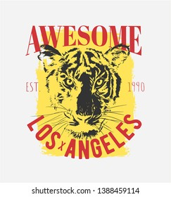 awesome slogan with tiger face on yellow background illustration, black and white tiger face for fashion print