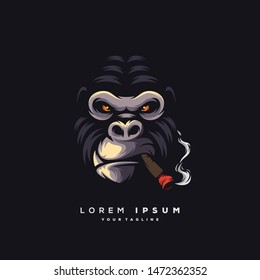 awesome smoking ape logo design