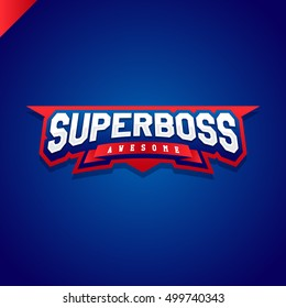 Awesome Super boss or director power full typography, t-shirt graphics, vectors. Sport style logo.