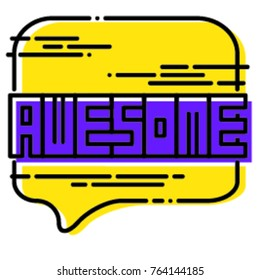 Awesome text speech bubbles vector illustration. Talk or thought bubble modern comic icon. Quote clouds and banner design in pop colours for print. Cartoon word. Isolated on white background.