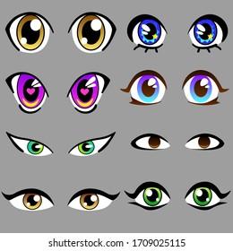 Awesome vector set of beautiful anime cartoon eyes