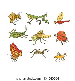 Awesome vector set of funny Insects in cartoon style: bee, mantis, dragonfly, grasshopper, fly, ladybird, butterfly, ant, wasp.