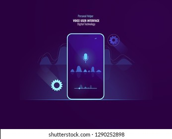 Awesome voice user interface command concept, mobile phone with sound wave, equalizer, helper application, speech recognition, flat vector illustration