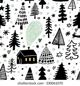 Awesome winter seamless pattern in vector. Stylish back, green and white holiday background. Winter composition for lovely holiday designs