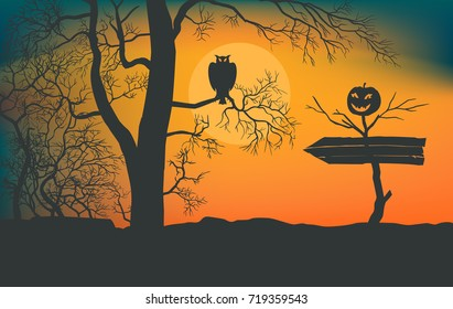 Awful impassable bushes. Owl sitting on a branch of tree. Dead tree with smiling pumpkin. Arrow to the holiday of halloween. Moonlight background. Vector illustration EPS-8.