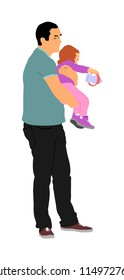 Awkward clumsy father with baby in hand vector illustration. Gawky unhandy young parent with child. Irresponsible confused man with toddler. Imprudent unthinking father carrying baby that spills milk.