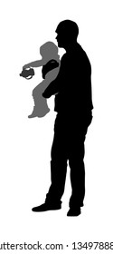 Awkward clumsy father with baby in hand vector silhouette. Little baby spill milk pacifier. Happy fathers day. Single parent take care about child. Divorced man with kid.