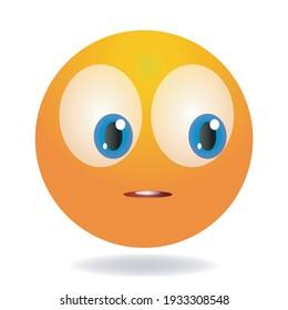 Awkward emoji. Yellow funny face. Round character with big eyes. Cartoon human emotion.