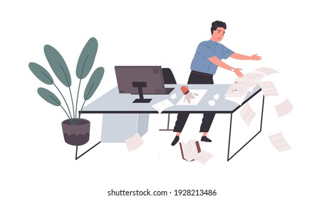 Awkward employee standing at office desk with papers falling down on floor. Concept of chaos and mess at work. Colored flat cartoon vector illustration of tired and clumsy worker isolated on white