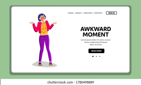 Awkward Moment Confused Shrug Young Woman Vector. Shrugging Shoulders Girl At Awkward Moment. Character Confusion Pensive Unsure Lady, Gesture And Reaction Web Flat Cartoon Illustration