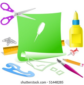 Awl. Vector paper template.