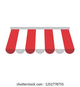 Awning with red and white stripes. Vector illustration