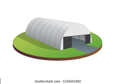 Awning tarpaulin tent temporary warehouse exhibition tunnel hall aircraft hangar. Barn construction building wireframe. Clear cut frame. Vector isometric 3d illustration