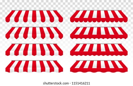 Awning tent with red and white stripes for cafe, shop or store roof canopy or sunshade edges. Vector isolated set on transparent background