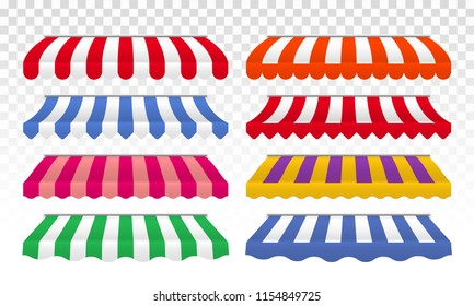 Awnings with color stripes. Vector cafe, shop or store roof canopy striped tents isolated set