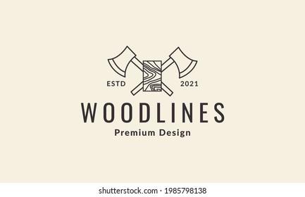 ax cross line with wood logo symbol vector icon illustration graphic design