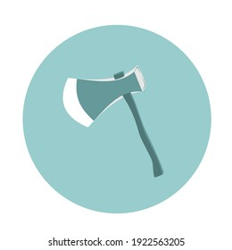 Ax icon with wooden handle in a circle in pastel green. Carpentry tools that are widely used by the community.