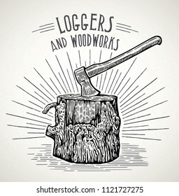 Ax stuck in a wooden stump, illustration in a graphic style