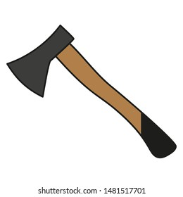 Ax with a wooden handle on a white background