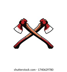 Axe crossed illustration vector on whie background