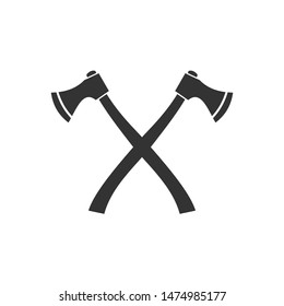 Axe Flat icon template color editable. Crossed Axe symbol vector sign isolated on white background. Simple logo vector illustration for graphic and web design.