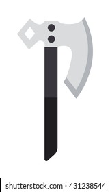 Axe steel weapon isolated and sharp axe flat weapon weapon icon isolated on white and knight axe cartoon flat icon of handle war work equipment vector illustration