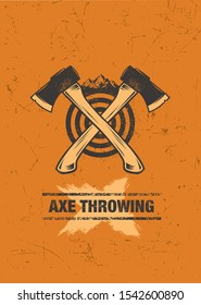 Axe Throwing Outdoor Activity Vector Design Element. Wilderness Rough Illustration On Grunge Distressed Background.