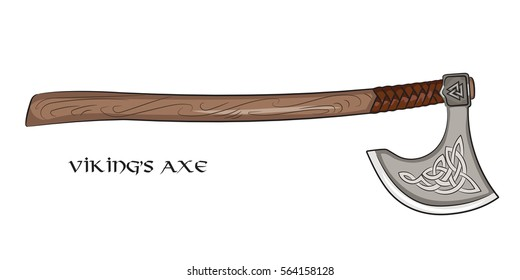 Axe Viking with ornamental Scandinavian, isolated on white, vector illustration