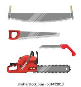 Axeman instruments set. Petrol-driven power saw, tooth blade sawtooth waveform with red handle isolated. Realistic vector illustration of hand saws collection. Carpentry tools for sawing wood products