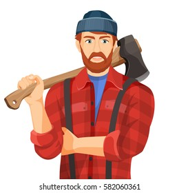 64b28463a80 Axeman with wooden axe isolated on white background. Lumberman with element  for woodworking or lumberjack
