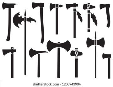 axes icons set - black silhouettes