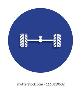 Axle and wheel car icon in badge style. One of Cars repear collection icon can be used for UI, UX