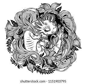 Axolotl, little salamander amphibian monster in circle ornate curl frame of leaves and herbs. Nature floral and animal line art. Botany, biology tattoo. Vector isolated illustration.